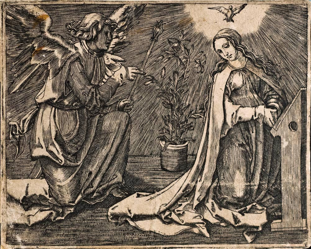 ... Martin (after Lucas van Leyden) /Angel of the Annunciation /engraving